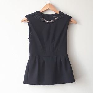Zara Jewel Neck Embellished Peplum Top Black